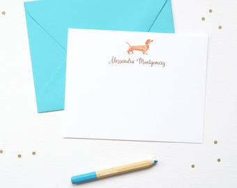 Personalized Stationery / Personalized Stationery Set / Personalized Note Card Set / Personalized Note Cards / Tan Dachshund Dog