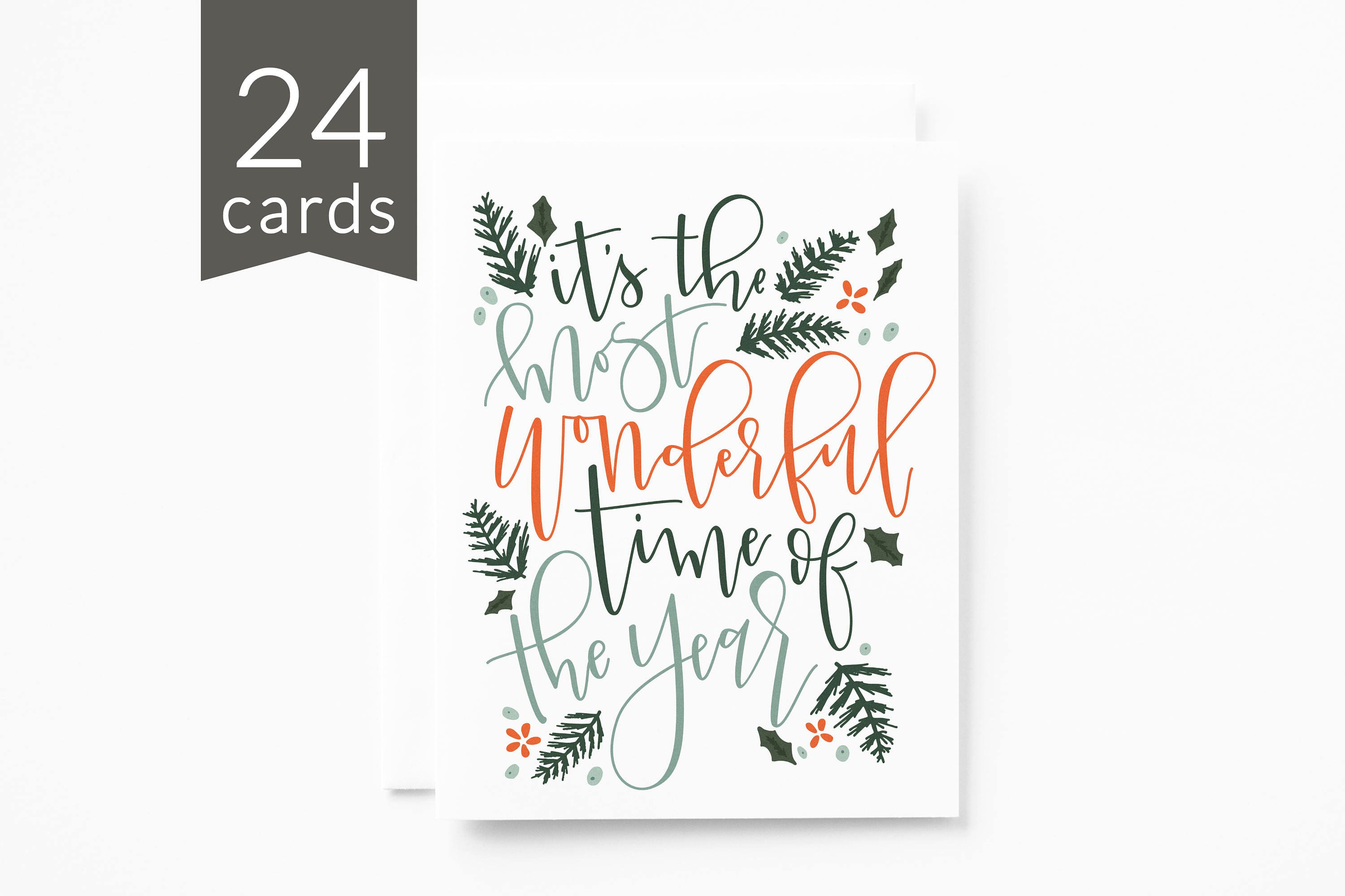 Christmas Card Set Of 24 Illustrated Holiday Card Set With Hand