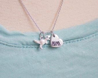 Mama T-rex Jewelry - Silver Dinosaur Necklace - Gift for Mom - Dinosaur Mother - Mom and Baby Dino - Gift for Mother's Day Necklace