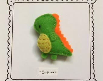 Hand embroidered felt brooch -Susan the Tyrannosaurus