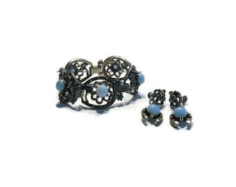 Chunky Blue Glass and Rhinestone Jewelry Set, Demi Parure, Bracelet and Dangle Earrings, Costume Jewelry
