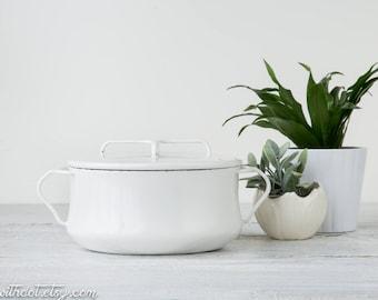 White Dansk Kobenstyle Enamel Casserole with Cover - Midcentury Baking Dish - MCM Dutch Oven from France - Jens Quistgaard