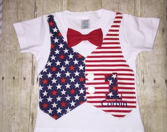Patriotic Birthday Shirt - 4th of July Shirt - Mock Vest with Buttons  - Memorial Day Independence Day - Stars and Stripes - Red White Blue