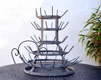 Bottle rack, old vintage French hedgehog bottle rack