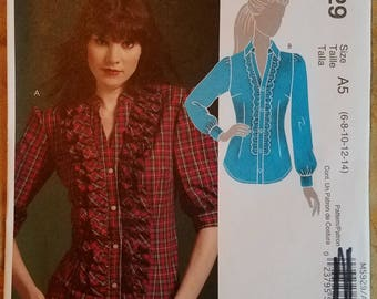 McCall's 5929 - Misses' Shirt Pattern - Sizes 6, 8, 10, 12, and 14 - Ladies and Women's Button Down Shirt Pattern