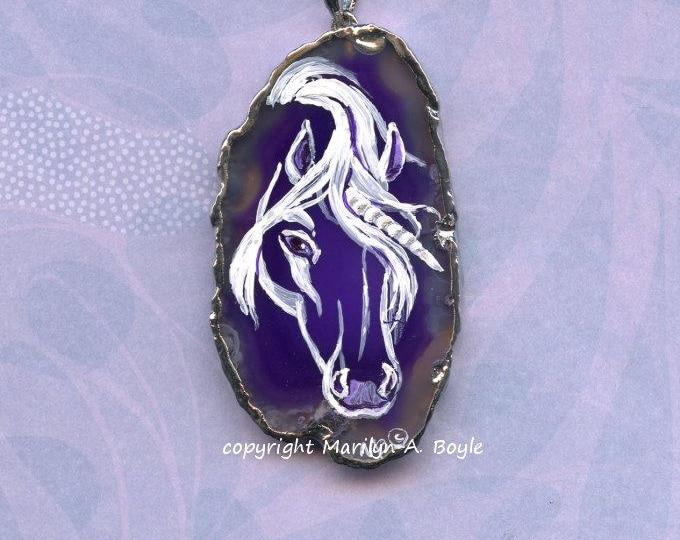 HAND PAINTED AGATE Pendant; Unicorn, royal purple, wearable art, 20 inch silver metal chain,
