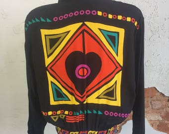 Dorothy Schoelen PLATINUM Multi-Color Heart Geometric Blazer Jacket Designer M