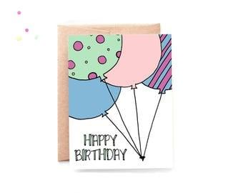 Happy Birthday Card - Birthday Card Friend - Birthday Card Coworker - Birthday Card for Her - Balloon Card - Simple Birthday Card