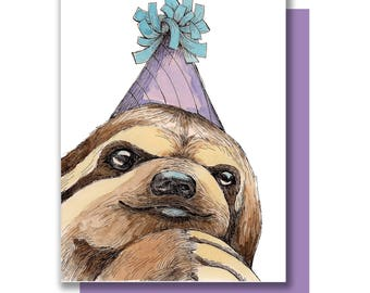 Party Sloth Card. Happy Birthday Celebration Card