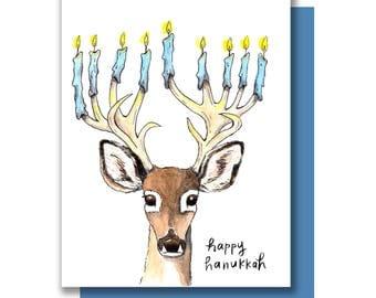 Happy Hanukkah Menorah Deer Antler Holiday Card