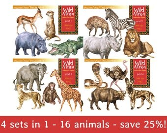 FULL PACK Wild Africa Clipart, Digital Watercolor Illustration, Animals Clip Art, Hand-painted, Safari Stock Illustration, Commercial use