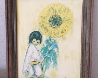 "Vtg Ted DeGrazia Art Print Reproduction Print 1960's Boy w Sunflower 14x11"""