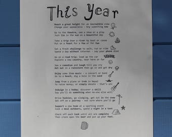 BIRTHDAY POEM PRINT (Male). A fun, bucket list in verse of things to do.