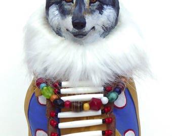 Wolf totem spirit sculpture Native American Indian Plains blanket pattern robe wolves Yellowstone glass beads southwest art shaman fantasy