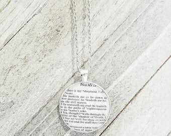 Psalm 23:1-4/Vintage Necklace Pendant/Gift for Her/Gift for mom/Gift for Wife/Christian Jewelry/Vintage Jewelry/Custom Jewelry