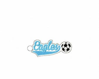 Eagles Soccer - Team - Eyelet - In The Hoop - Snap/Rivet Key Fob - DIGITAL EMBROIDERY DESIGN