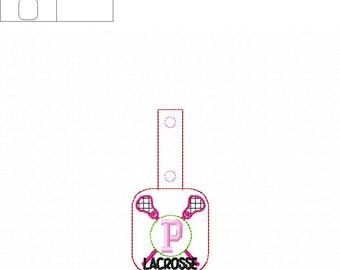 "Lacrosse - Sports - ""P"" - Monogram - Initial - Key Fob Design - DIGITAL EMBROIDERY Design"