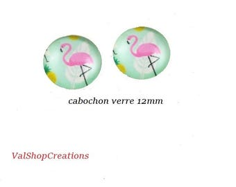 X 2 Cabochons Flamingo Pink glass 12mm