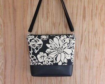 Crossbody zippered canvas bag, canvas crossbody purse, gift for women, tropical floral bag