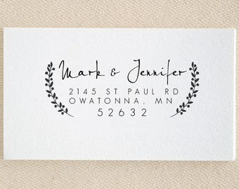 Leaves Ornament Personalized Custom Name Return Address Stamp Wedding Handle Mounted Rubber Stamp Or Pre-inked Stamp Self inking Stamp RE958