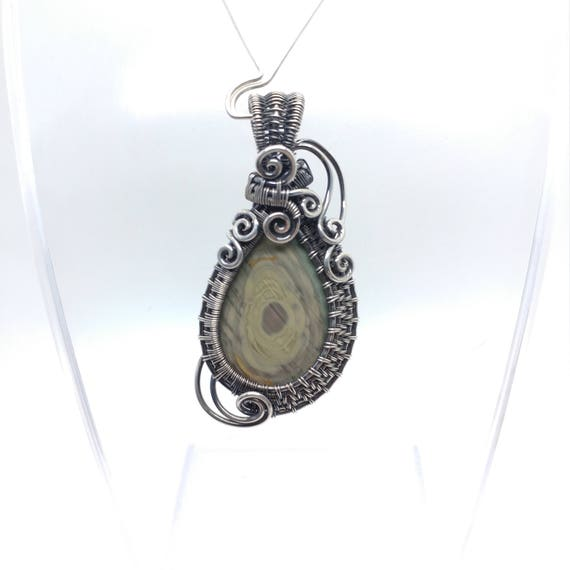 Royal Imperial Jasper Pendant | Blue Purple Green Pendant | Fine Jasper Jewelry | Oxidized Sterling Silver | Heady Wire Wrapped Pendant