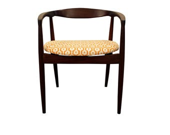 Mid-Century Danish Modern Geometric Pattern Round Teak Arm Chair