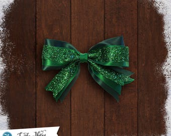 Green Glitter Hair Bow | 3in French Barrette | Hand Crafted