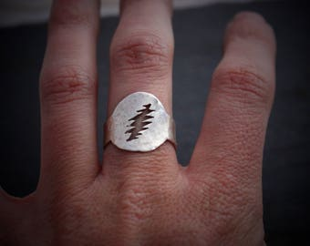 Grateful Dead Ring / Silver adjustable 13 point lightning bolt / Rustic handmade jewelry