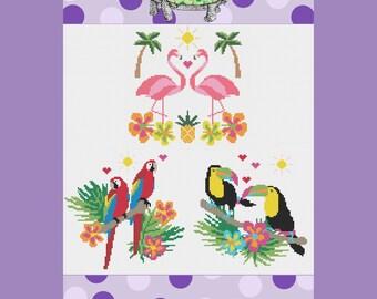 SET OF THREE Tropical Summer Bird Modern Cross Stitch Patterns