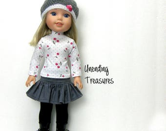 14 inch doll clothes made to fit like wellie wisher doll clothes gray ruffle skirt cherry turtleneck top and hand knitted hat