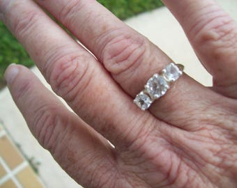 Three Stone Past Present Future or Anniversary Ring Custom Made to Order - 14k White Or Yellow Gold - White Sapphire