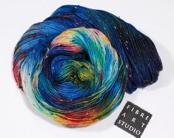 Donegal>> Fingering 100g 438 yd | Variegated Donegal Tweed Yarn in Blue, Green, Magenta, Yellow | Superwash Merino Wool  Nylon | Blue Galaxy
