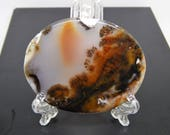 autumn in the mountains Dendritic landscape agate cabochon oval dendritic quartz plate, rare agate slice picture stone natura landscape