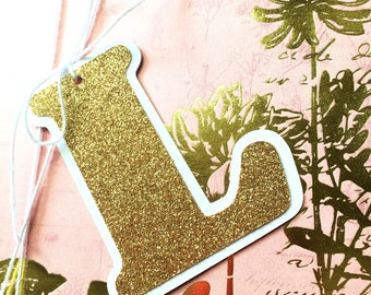 Glitter Letter Initial gift tags. Gift wrapping monograms. Gold, Silver, Red or Green. Christmas, birthdays. Custom gift wrapping tags.