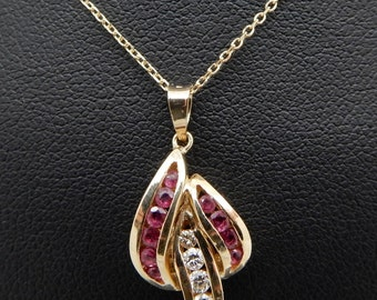 """Solid 14K Yellow Gold 0.50cttw Round Red Ruby & Diamonds Dangle Pendant Necklace-18""""; sku # 4667"""