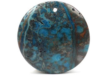 Crazy Lace Blue Agate Pendant, Natural Blue Round Stone Focal Bead G1163