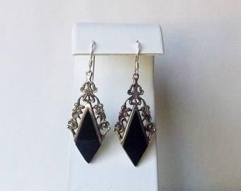 Modern sterling silver silver floral filigree black onyx 2 inch drop earrings pierced ear wires
