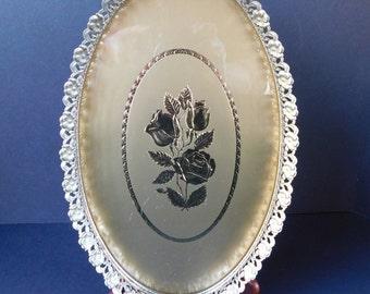 Mid Century Gold Rose Vanity Tray, Dresser Tray, Bathroom Tray, Home Decor, Perfume Tray, Jewelry Tray, Makeup Tray, Oval, Filigree,