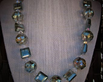 exquisite crystal spheres and squares necklace