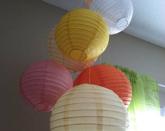Baby Mobile or Room decor -You pick COLORS-Pre-assembled 6 Paper Lanterns Mobile-