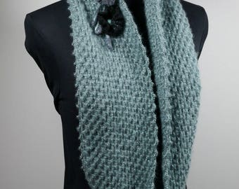 Double col snood au crochet et fleurs en laine feutrée - Echarpe laine Vert de gris - noir