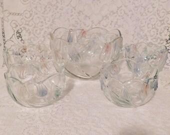 Mikasa Tivoli Tulip Serving Bowl and 4 Smaller Matching Bowls, Crystal Glass Bowl Set, Tivoli Bowls, Vintage Glass Bowls