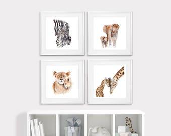 Safari Animal Art - Framed Nursery Prints - Set of 4 - Mom and Baby Animal Prints - Framed Safari Nursery Art - Framed Animal Prints - Girl