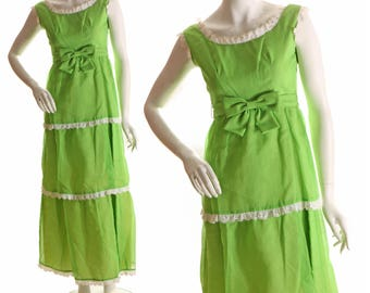 1960s Bright Kelly Green Tiered Full Length Sleeveless Dress by Lorrie Deb-XS