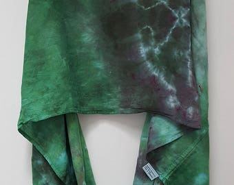 Hand Dyed Rayon Infinity Scarf in Green & Gray