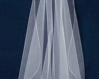 """Flutter Cut 36"""" Long Fingertip Length Pencil Embroidery Edge Wedding Veil"""