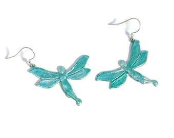 Mint Green Earrings, Green Fairy Earrings, Fairy Earrings, Fairy Jewelry, Dragonfly Earrings, Fantasy, Tinkerbell Earrings, Flying Faries