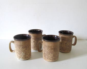 vintage 70s DUNCAN ceramics stoneware coffee tea mug set of 4 / made in Scotland • studio Pottery
