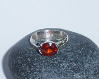 Flame - SS ring with natural spessartine garnet