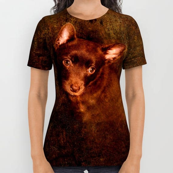 All over print shirts- Puppy Australian Kelpie